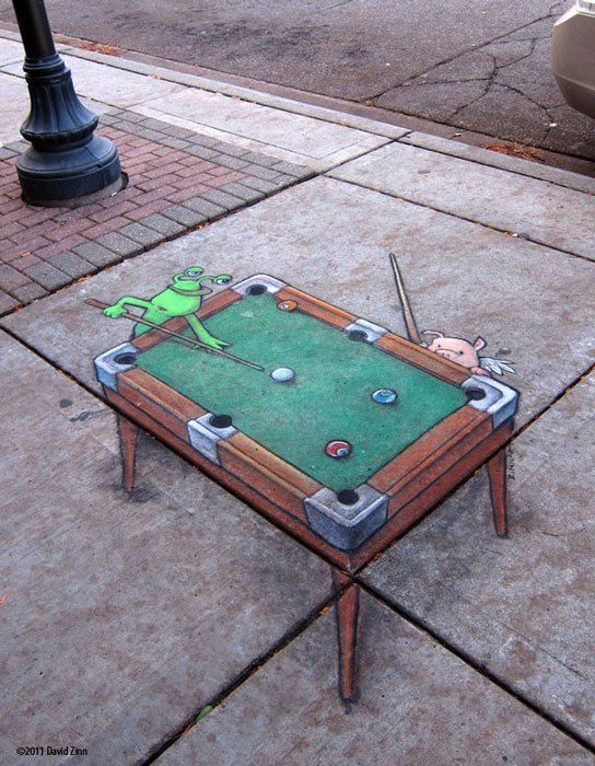 billiards-by-david-zinn  I like this drawing because i think that the world needs little goblins and winged pigs playing pool