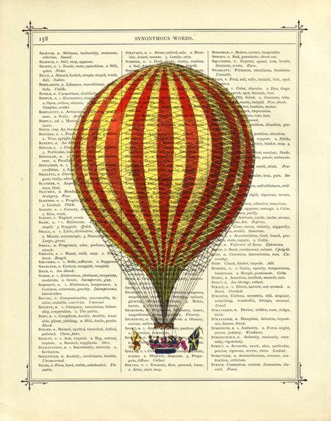 Digitaldruck - Ballon I - Kunstdruck viktorianische Buchseite - ein Designerstück von printery bei DaWanda