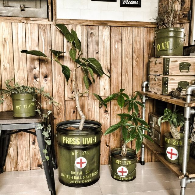 Recycled tin can & oil drum - military pattern indoor planters