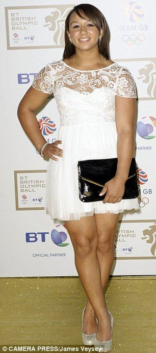 Britain's 58kg Olympic Weightlifer Zoe Williams in white lace attending the British Olympic Ball.