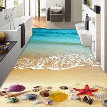 Papel de parede personalizado Mural sala de estar quarto 3D de Surf de praia conchas estrela do mar sala chão do banheiro pintura auto adesiva(China (Mainland))