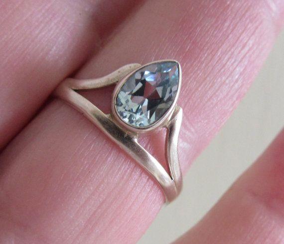 Venta de 3 días topacio azul plata anillo de piedras por bgezunt