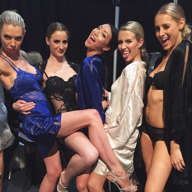 May 2015  Gorgeous gals Klara, Jayde, Jae, Dallas and Courtney in Calvin Klein backstage at the Luxury Bridal Event in Melbourne
