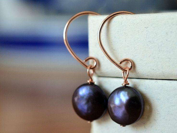 Dangly 14K Rose Gold Filled Peacock Pearl Earrings, Handmade Wedding Jewellery