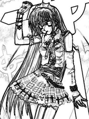 Emo Girl coloring page | colouring in pages | Pinterest | Emo girls