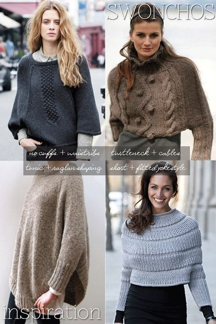 Swonchos, I'm not a fan of the shape of a swoncho, but I love the dark grey one. Rewrite into a sweater?