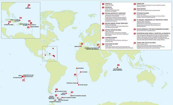 Los territorios británicos de ultramar.