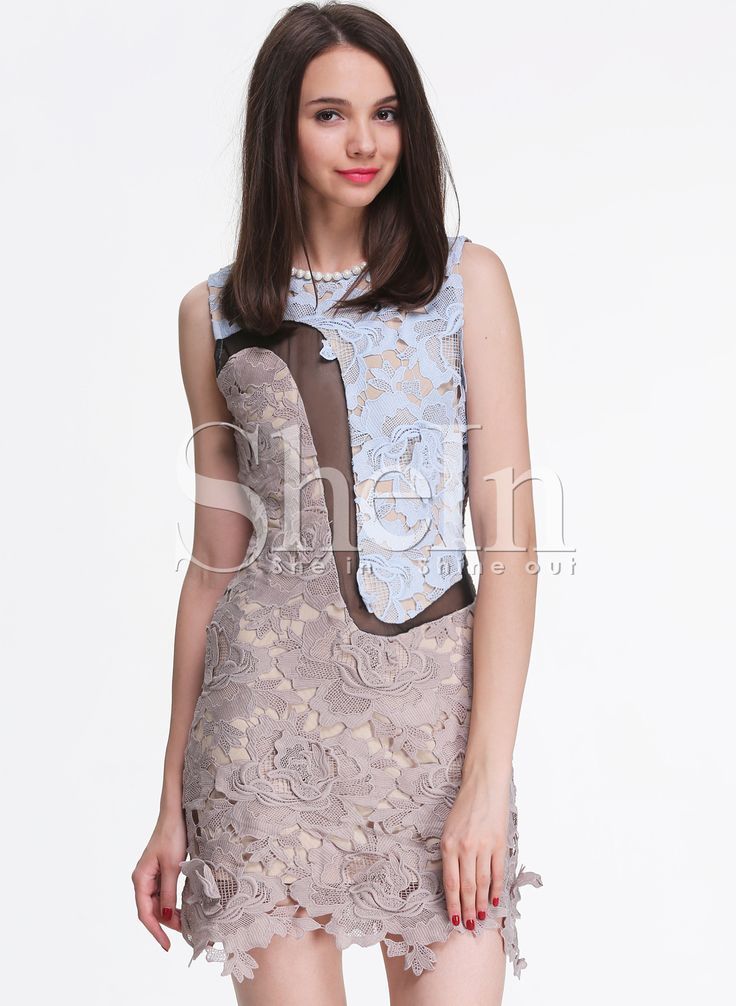 Grey Sleeveless Crochet Lace Dress 32.99