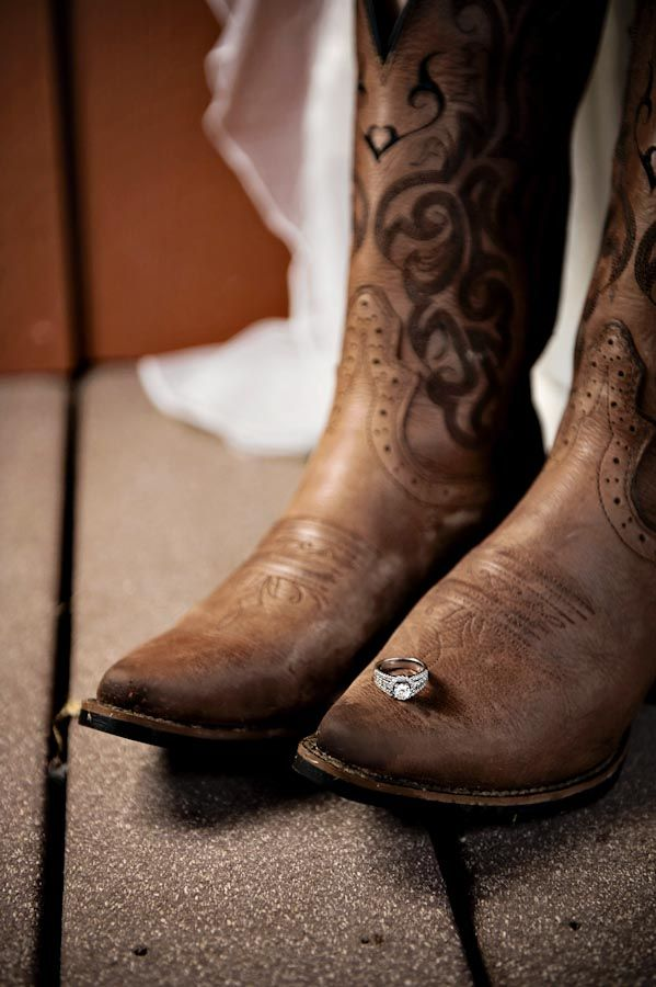Country Bridal Shoot - cowboy boots & hand-picked wildflowers