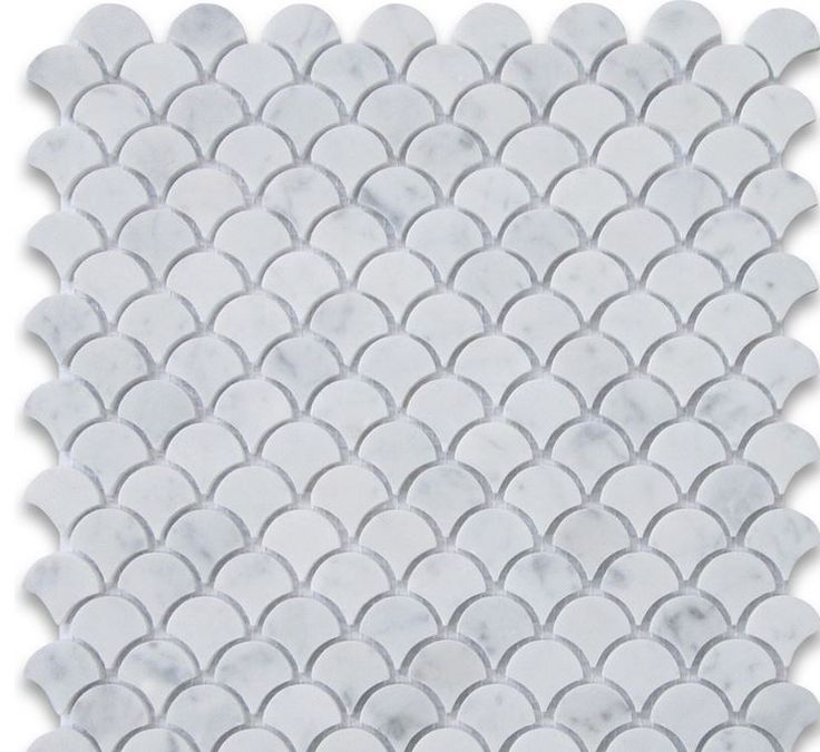 carrara white marble medium fish scale shaped mosaic.JPG