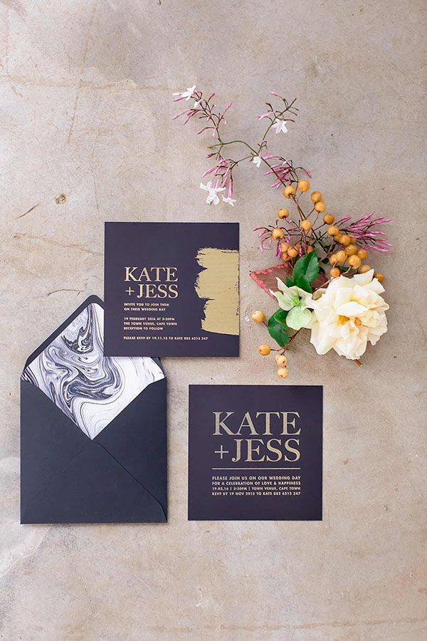 Marbled and Foiled Invitation in Rich Purple and Gold   Wesley Vorster Photography   http://heyweddinglady.com/regal-purple-gold-champagne-wedding-palette/