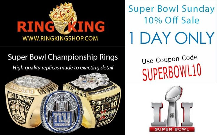 Today only get 10% off all replica Super Bowl rings and sets. Use code SUPERBOWL10 and visit ringkingshop.com. #superbowl #patriots #steelers #dallas #nfl #packers #atlanta #tombrady