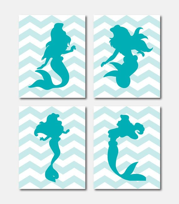 Princess Silhouette Quad - Ariel Mermaid - Nursery Wall Art - Girls Bedroom Wall Art - 11 x 14 prints - Chevron - Your choice of colors