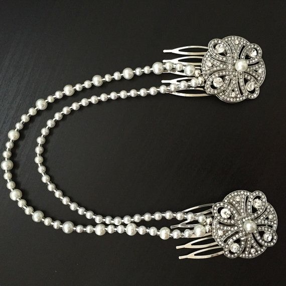 Haar keten  Art Deco zendspoel  bruids haar juwelen  1920