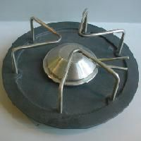 """GEORG JENSEN POT WARMER, CAST IRON AND STEEL. DESIGNED BY HENNING KOPPEL $650.00  Condition: fine vintage, preowned Size: about 10"""" diameter by 7/8"""" high"""