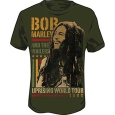 Bob Marley Uprising Tour Men's T Shirt (Moss)    This moss colored Bob Marley Men's Tee commemorates Bob Marley and the Wailers' historic Uprising World Tour in 1980. It features a great image of Bob smiling on the front with long dreads. Printed adjacent in the rasta colors to the image of Bob are the words, Bob Marley and the Wailers.
