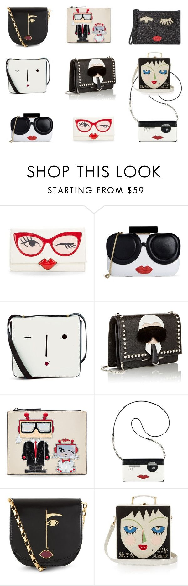 """""""Let's put a smile on that purse"""" by insanelyit on Polyvore featuring Kate Spade, Alice + Olivia, Lulu Guinness, Fendi, Karl Lagerfeld, Nine West and Olympia Le-Tan"""