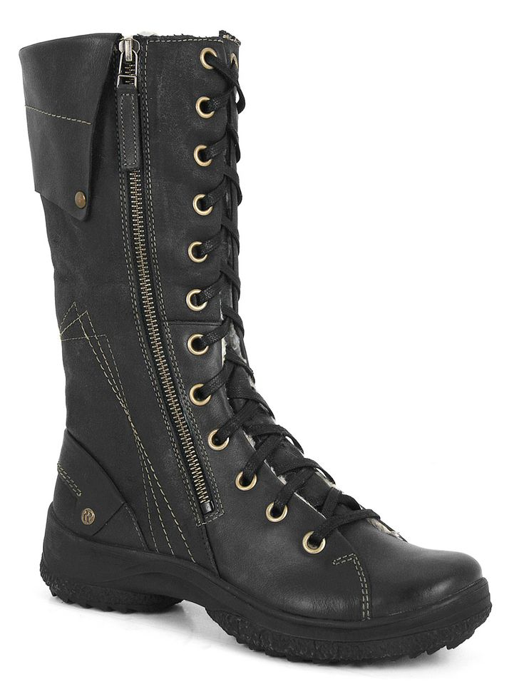 Spike Lady 101 (Black) - Practical, retractible: tall boots with hidden ice spikes