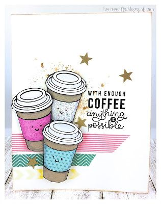 beru-crafts: Coffee and Tea. SSS...  I stamped all cups on the kraft card stock. I used my scissor and cut  the label, the cups and the lids... with a black bold marker I colored the edges, before I put all together. The background is made with Distress Ink and a foil. Take the Ink an smash it on the foil, spray water on the foil and press it softly on the card, remove, press again, till you have your background... I used Tape for made a few strips.