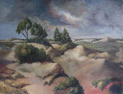 """View on the Dunes of """"De Panne"""" (Belgium) around 1985 - Olieverf op doek 140x120cm"""