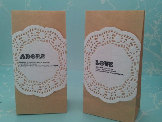 Small brown paper and doily gift bag, valentines, Love, Adore, Cherish, Forever definition, hand stamped, bonbonierre