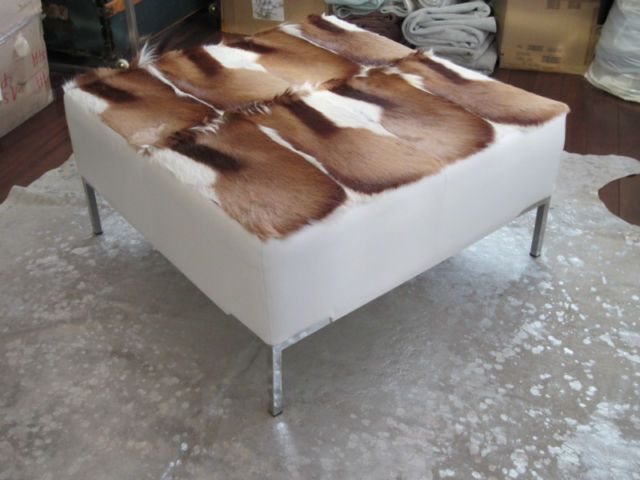 Gaucho Collection Ottomans In Real Cowhide And Exotic African Hides And  Tibet Fur. Made In