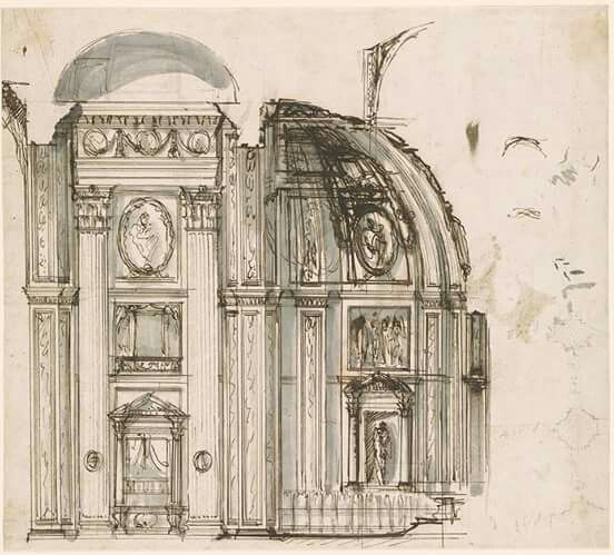 Good Giovanni Battista Piranesi Section through Choir of San Giovanni in Laterano Showing Proposed Alteration and Sketch of Ground Plan Showing Borromini us Side