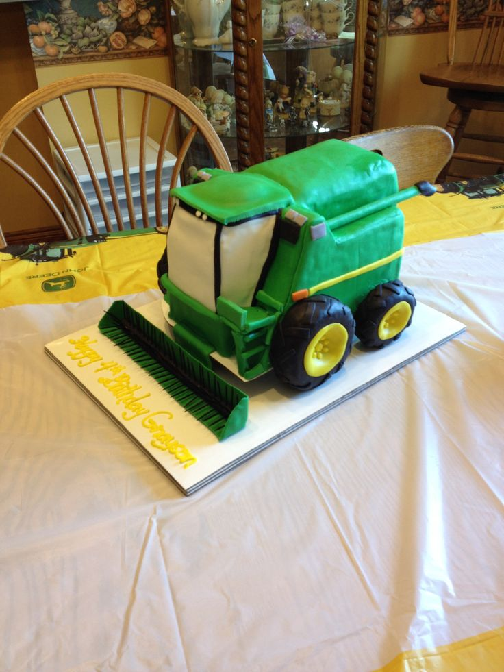 John Deere combine cake for 4th birthday