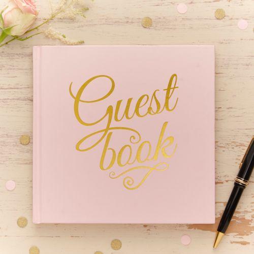 Gästebuch Hochzeit 'Vintage Pastell' rosa / gold