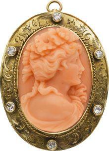 Coral Cameo, Diamond, Gold Pendant-Brooch. ... Estate |