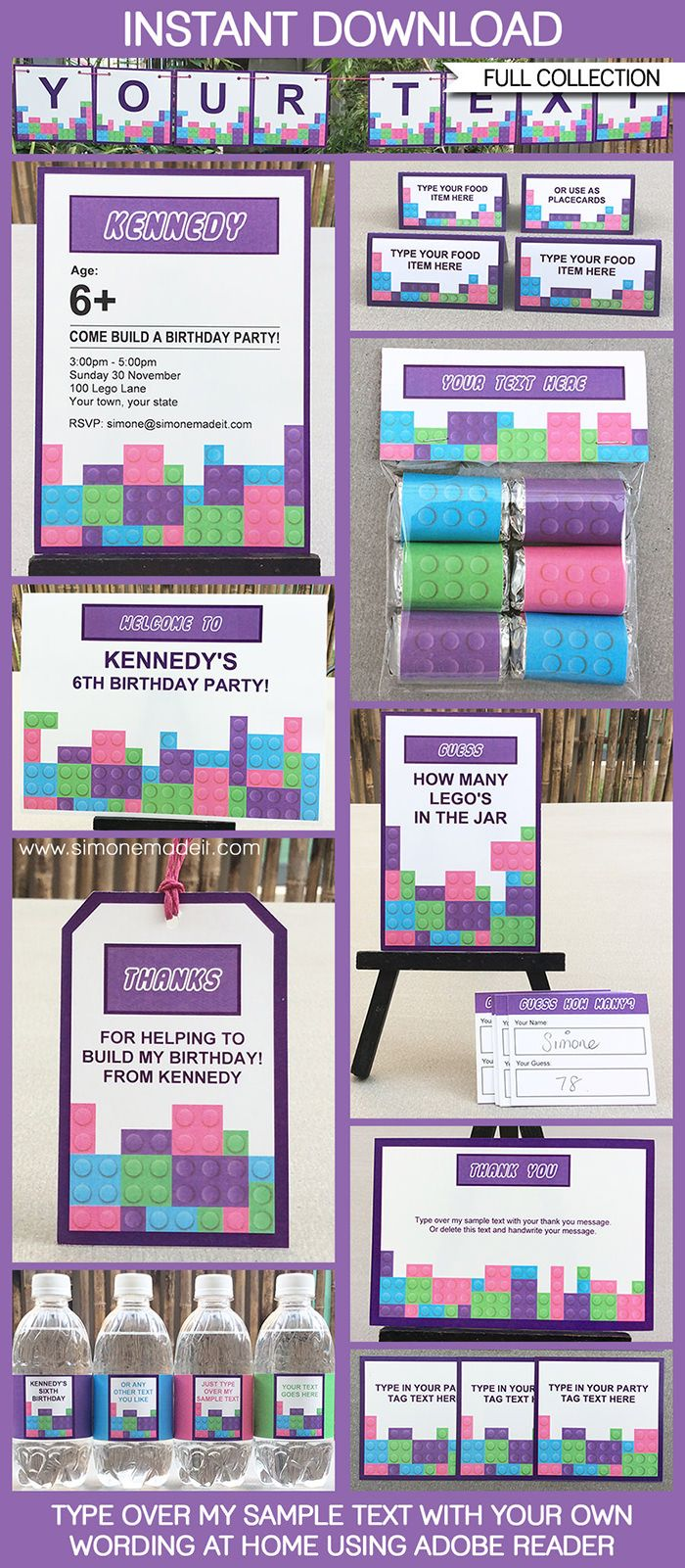 Lego Friends Party Printables, Invitations & Decorations | Editable Birthday Party Theme templates | INSTANT DOWNLOAD $12.50 via SIMONEmadeit.com