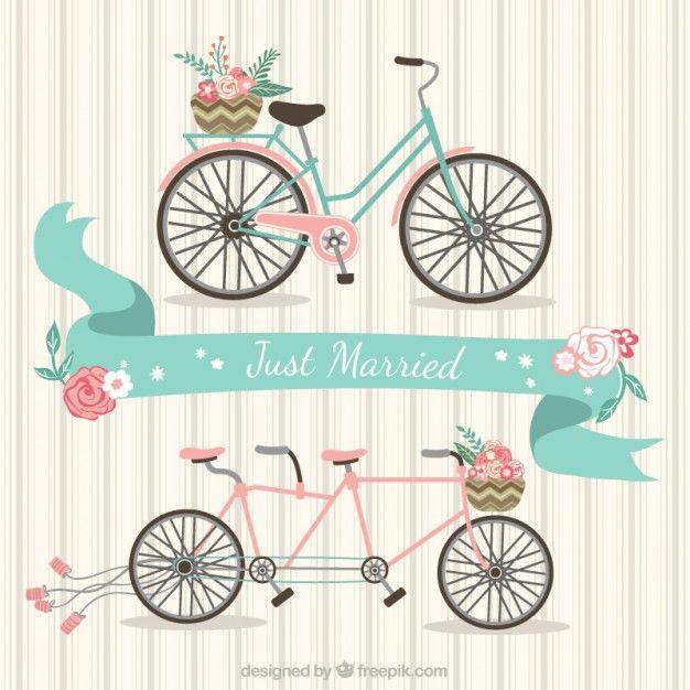 Bicicletas de recién casados Vector Gratis