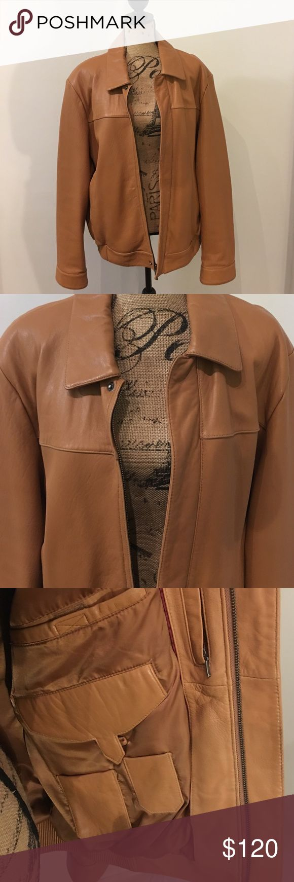 Nicole Miller Men's Leather Jacket Genuine leather men's jacket. Has compartments on the inside. Moderately worn and in very good condition. Beautiful genuine leather. Nicole Miller Jackets & Coats