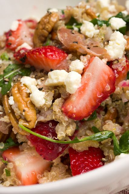 Sugar & Spice by Celeste: Quinoa Salad with Strawberries, Crispy Prosciutto, Toasted Pecans & Feta Featured in Southern Living!      I have the Qiunoa, strawberries, and feta... just need the prosciutto and pecans.... freaking eh.... this is lunch for sunday!!!  -Amanda