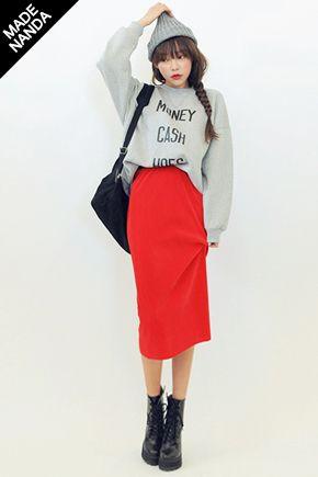 boots, long red skirt, gray sweatshirt, gray beanie, braid