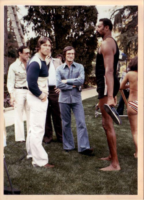 Super Seventies — superseventies: Hugh Hefner, Arnold Schwarzenegger and Wilt Chamberlain at the Playboy Mansion, 1977.
