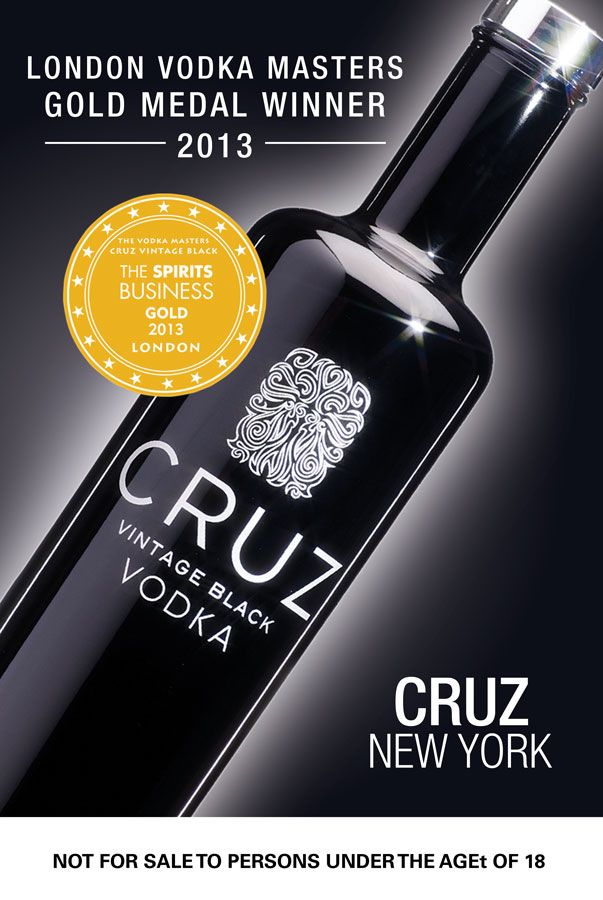 WIN! One of 6 bottles of Cruz Vintage Black luxury vodka