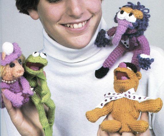 Muppets Knit and Crochet Pattern, Kermit the Frog, Mrs. Piggy, Fozzy Bear & Gonzo, $2.95