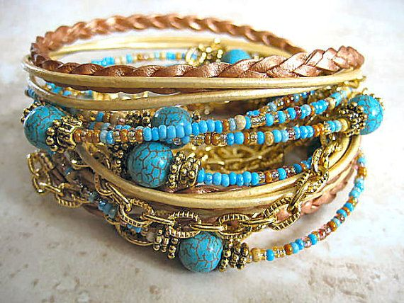 "Stunning Chic Endless Leather Triple Wrap Turquoise Copper Gold Beaded Bracelet ""Perfect Summer""....Adjustable  by LeatherDiva, $42.00"