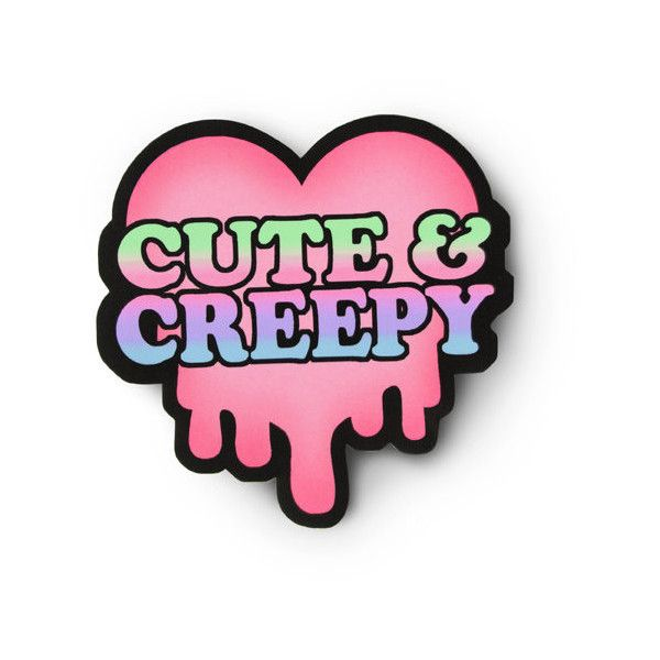 Soft Grunge Cute and Creepy Sticker Pastel Goth Art ($2.50) ❤ liked on Polyvore featuring accessories