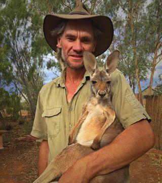 In addition to raising kangaroos, Barns also stars on the BBC show Kangaroo Dundee.