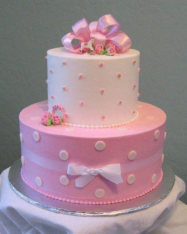 Pink+Polka+Dot+Baby+Shower+Cake