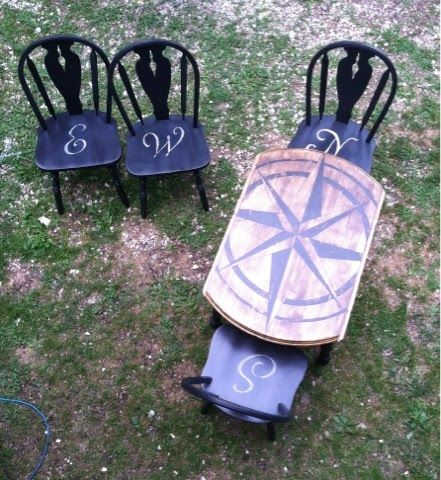I just picked up at FREE pub style round table with 4 stools and it is screaming to do something like this ~ Compass Rose Table
