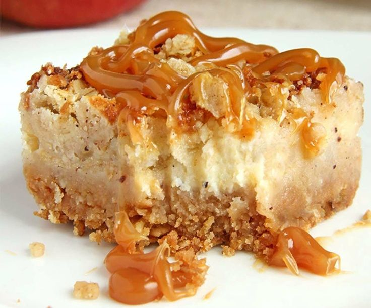 Caramel Apple Crisp Cheesecake Bars!!..love all the flavors in these bars