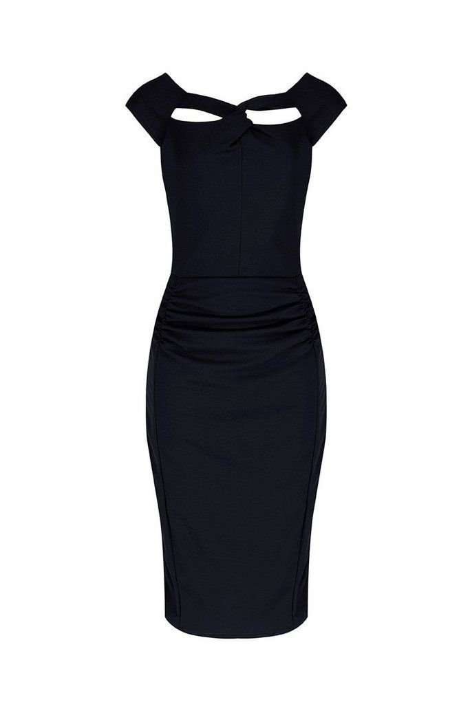 Black Crossover Bodycon Wiggle Dress