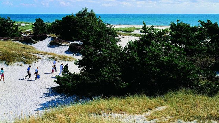 The stunning, white-sand beach at Dueodde on the Southern tip of Bornhom.