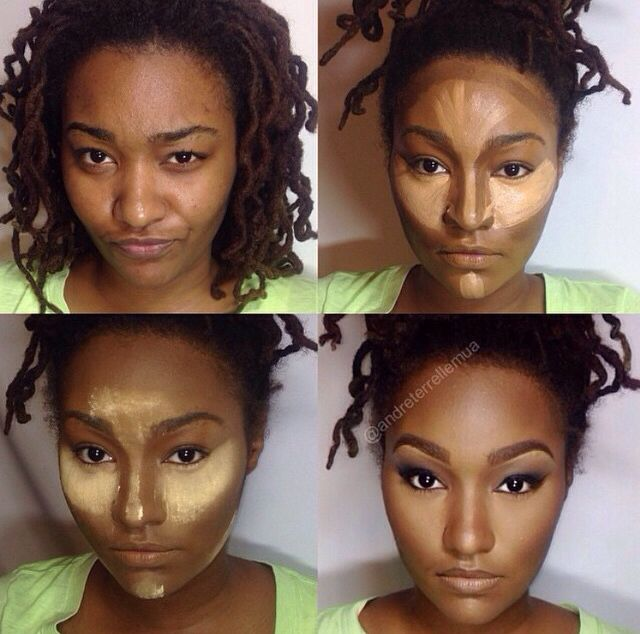Contouring dark skin. I love this example. She looks gorgeous