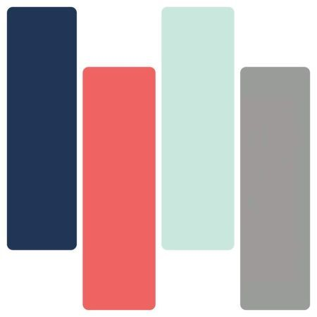 Navy, Coral, Aqua and Grey Bedding | Sorority and Dorm Room Bedding