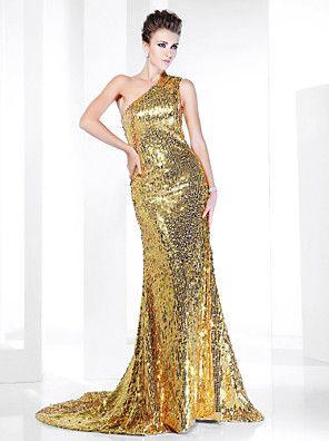 Evento Formal Vestido - Brilho & Glitter / Elegante Sereia Mula Manca Cauda…