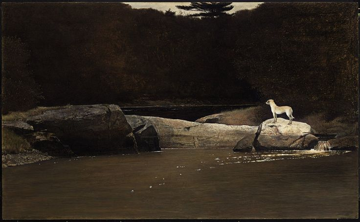 Andrew Wyeth, Intruder Tempera. I love his style, and I was elated to hear that his paintings were the stylistic source of inspiration for the movie, The Ring. Dark and haunting, sublime and masterful.